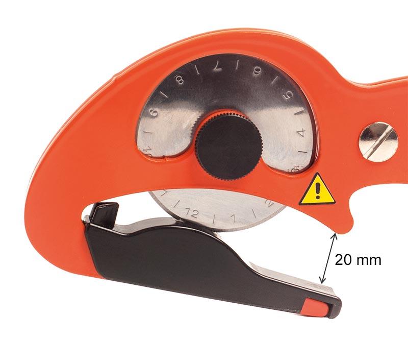 Bild på skärhuvudet på en S-CUT XC-E där även det större gapet illustreras med måttangivelsen 20 mm.